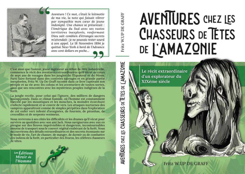 Couverture livre aventures chez les chasseurs de têtes de l'amazonie