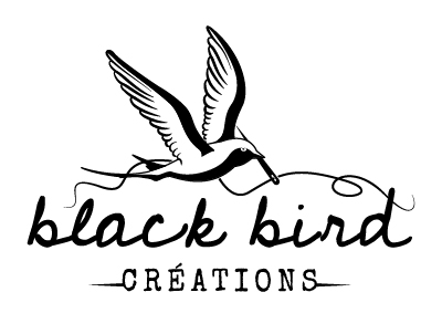 logo monochrome noir black bird créations