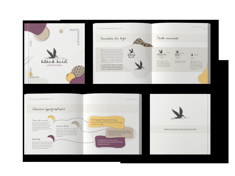 mockup charte graphique black bird créations